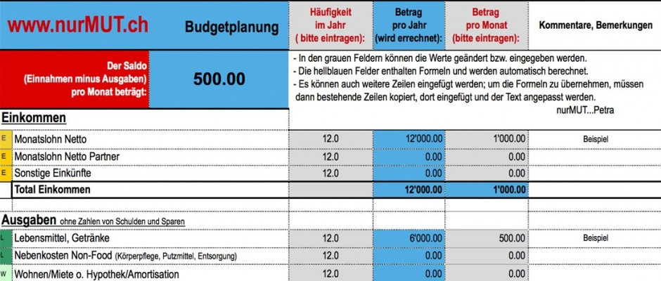 Budget-Formular