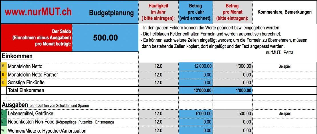 nurMUT Jahres Budget-Formular als Download -