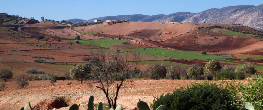 marokkanische Berber-marokko-rote erde-landschaft marokko
